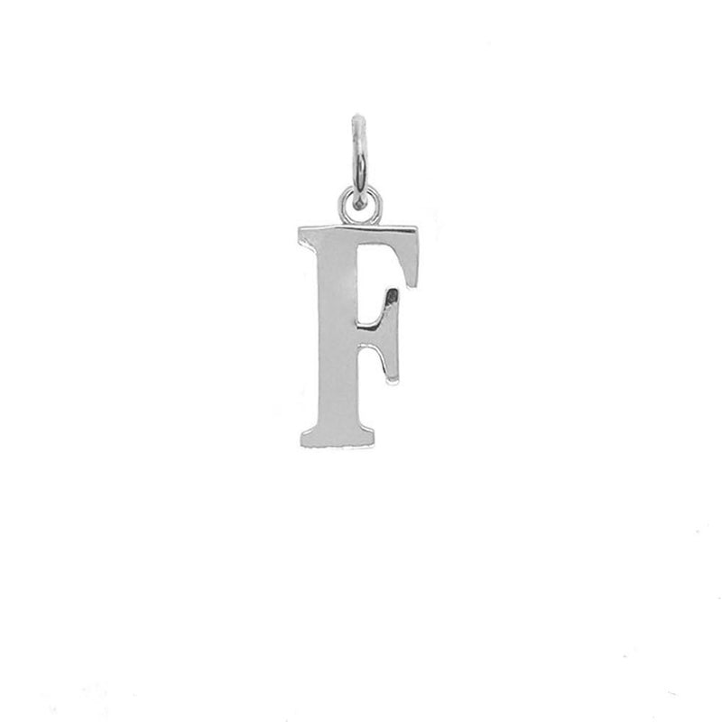 "Letter ""F"" Initial Pendant Necklace in Solid Gold"