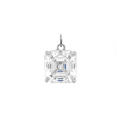 Solitaire Asscher-Cut CZ Pendant Necklace in Sterling Silver (Medium)