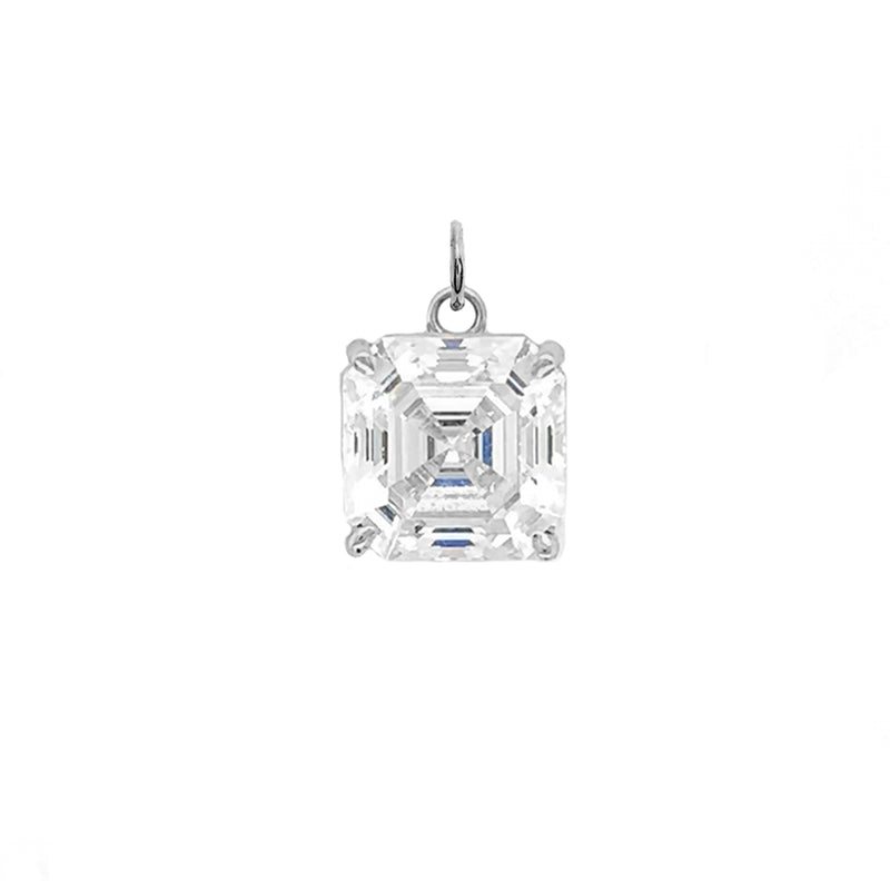 Solitaire Asscher-Cut CZ Pendant Necklace in Sterling Silver (Small)