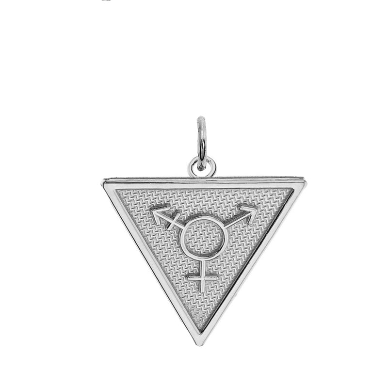 Triangle Transgender Pendant/Necklace In Solid Sterling Silver