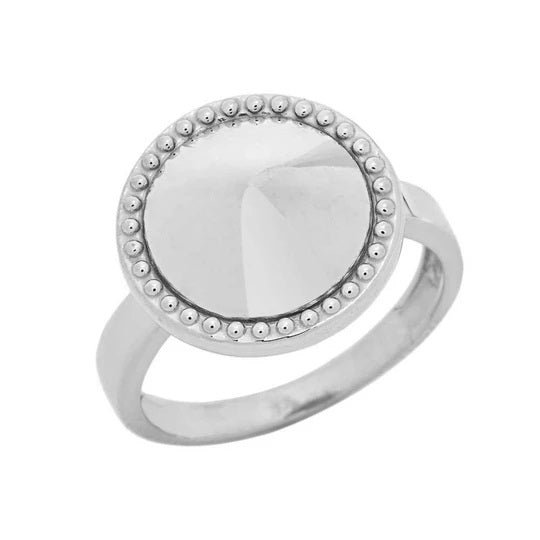 Milgrain Round Shaped Statement Ring In Solid White Gold