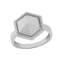 Milgrain Honeycomb Shaped Statement Ring In Solid White Gold