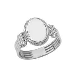 Timline Signet Ring For Him or Her In Sterling Silver