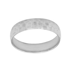 Hammered 4mm Wedding Band Ring in Solid White Gold