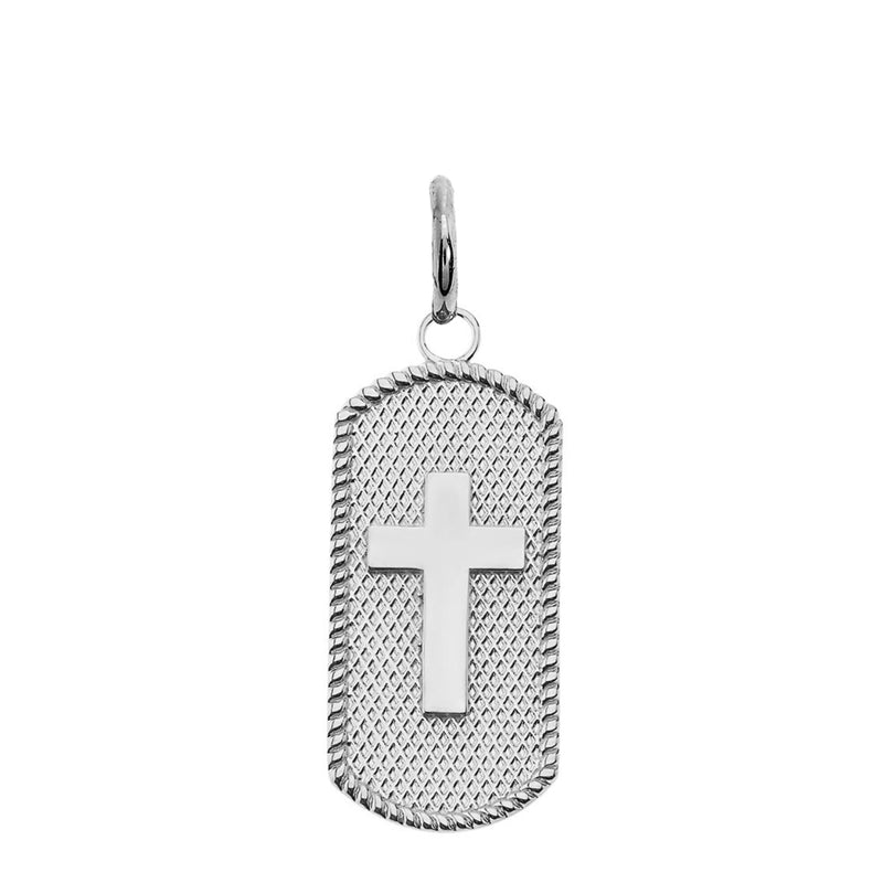 Cross Statement Dog Tag Pendant Necklace in Sterling Silver