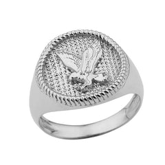 Milgrain Golden American Eagle Ring in Solid White Gold