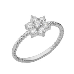 Solid Gold Diamond Cluster Flower Rope Ring