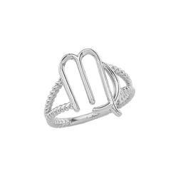 Virgo Zodiac Symbol Rope Ring In Sterling Silver