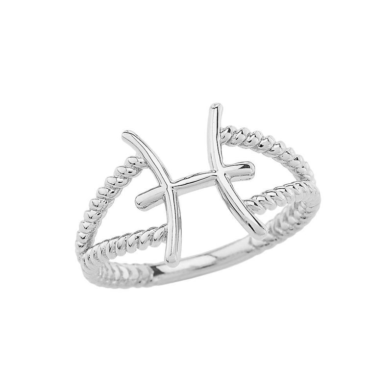 Pisces Zodiac Rope Ring in Sterling Silver