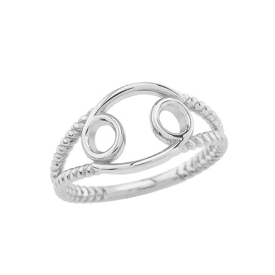 Zodiac - Cancer Rope Ring in Solid White Gold