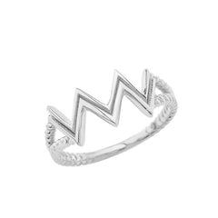 Aquarius Zodiac Rope Ring in Solid White Gold