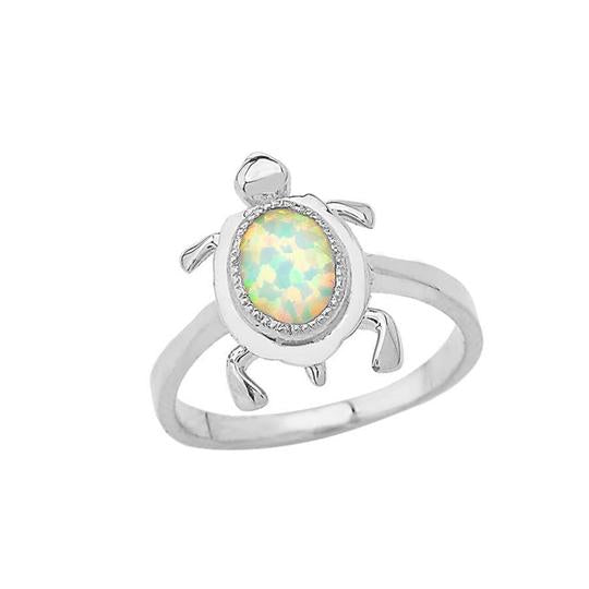 Opal Turtle Ring in Solid White Gold