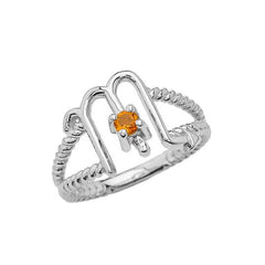 Zodiac - Scorpio Rope Ring with Citrine Gemstone in White Gold