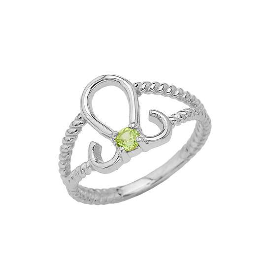 Genuine Peridot Leo Zodiac Rope Ring In Solid Gold