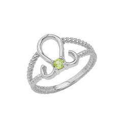 Genuine Peridot Leo Zodiac Rope Ring In Solid White Gold