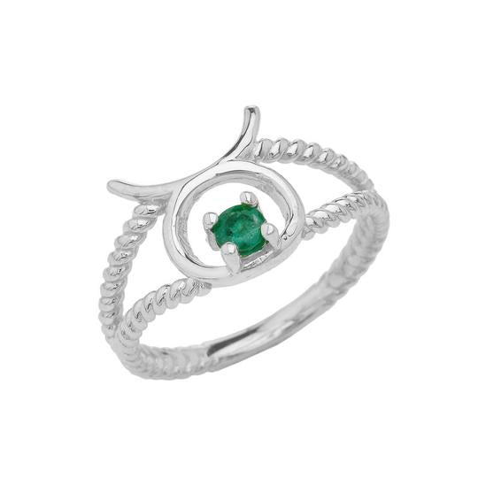 Taurus Zodiac & Emerald Gemstone Rope Ring in Solid White Gold
