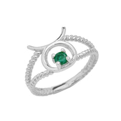 Taurus Zodiac & Emerald Gemstone Rope Ring in Solid Sterling Silver