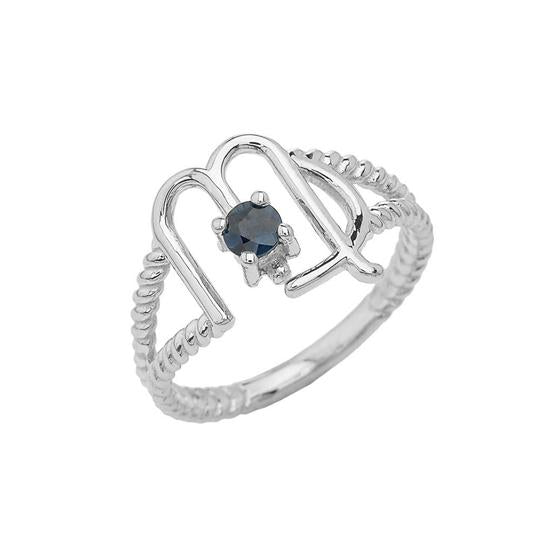 Virgo Zodiac & Sapphire Gemstone Rope Ring in Solid White Gold