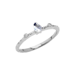 Dainty Pear Shape Aquamarine & Diamonds Stackable Ring In Solid White Gold