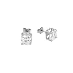 Solitaire Asscher-Cut CZ Stud Earrings in Sterling Silver(Medium Size)