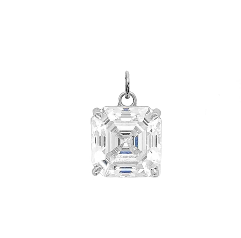 Asscher-cut 9 mm CZ Stone Statement Pendant Necklace in Sterling Silver