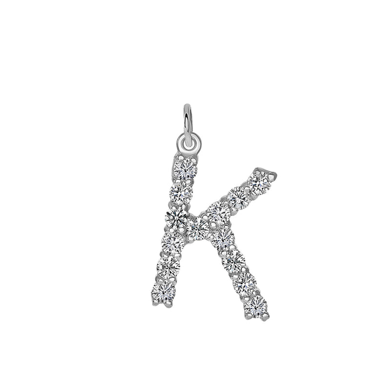 "Initial ""K"" CZ Letter Pendant/Necklace in Sterling Silver"