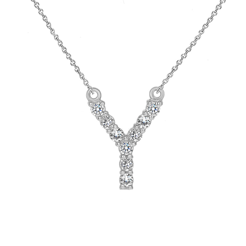"Initial ""Y"" CZ Letter Necklace in Solid Gold"