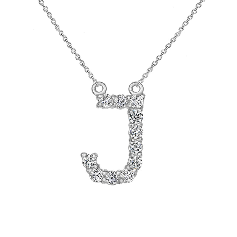 "Initial ""J"" CZ Letter Necklace in Solid Gold"