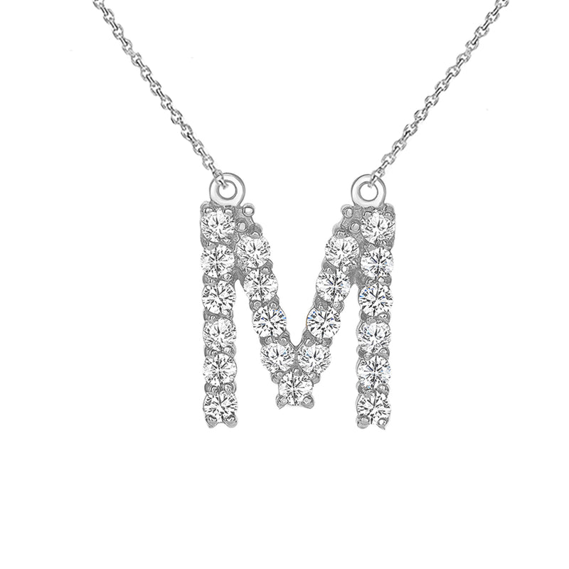 "Initial ""M"" CZ Letter Necklace in Sterling Silver"