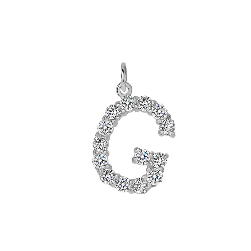 "Initial ""G"" CZ Letter Pendant/Necklace In Sterling Silver"