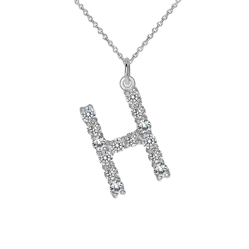 "Initial ""H"" Letter with CZs Pendant/Necklace in Solid Gold"