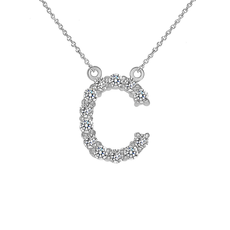"Initial ""C"" CZ Letter Necklace in Solid Gold"
