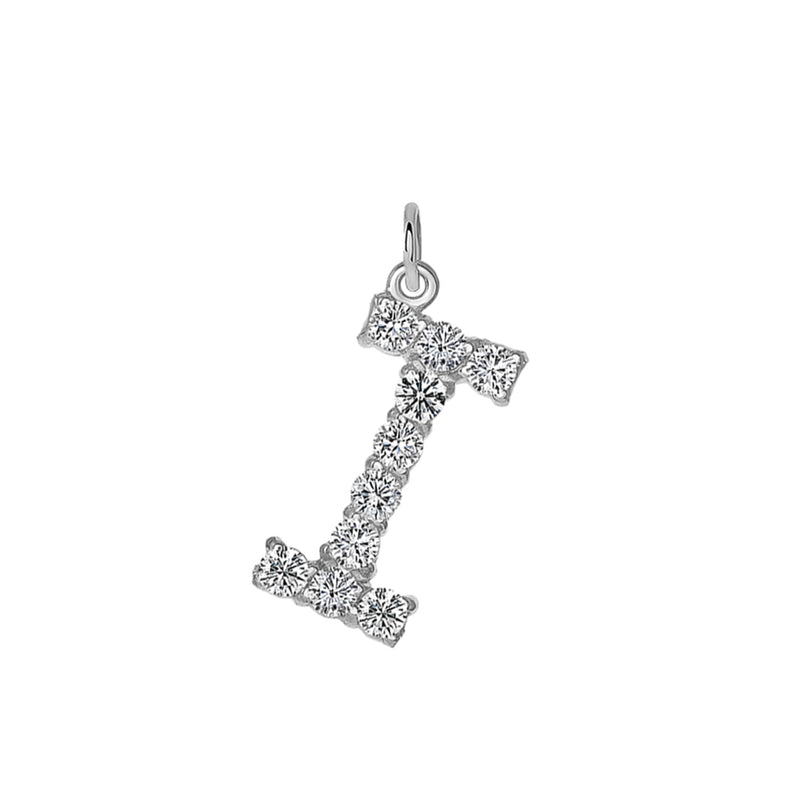 "Initial ""I"" CZ Letter Pendant/Necklace in Sterling Silver"