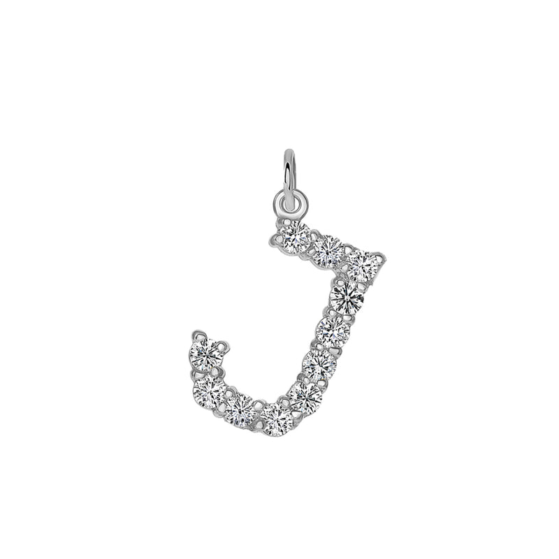 "Initial ""J"" CZ Letter Pendant/Necklace in Sterling Silver"
