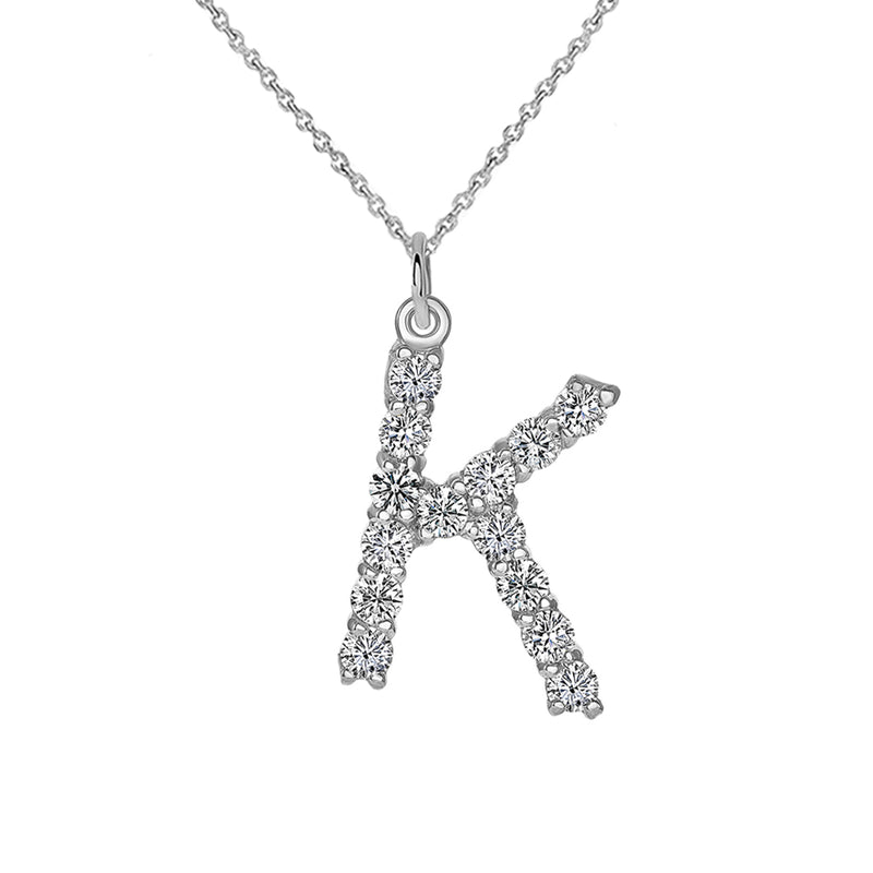 "Initial ""K"" CZ Letter Pendant/Necklace in Solid Gold"