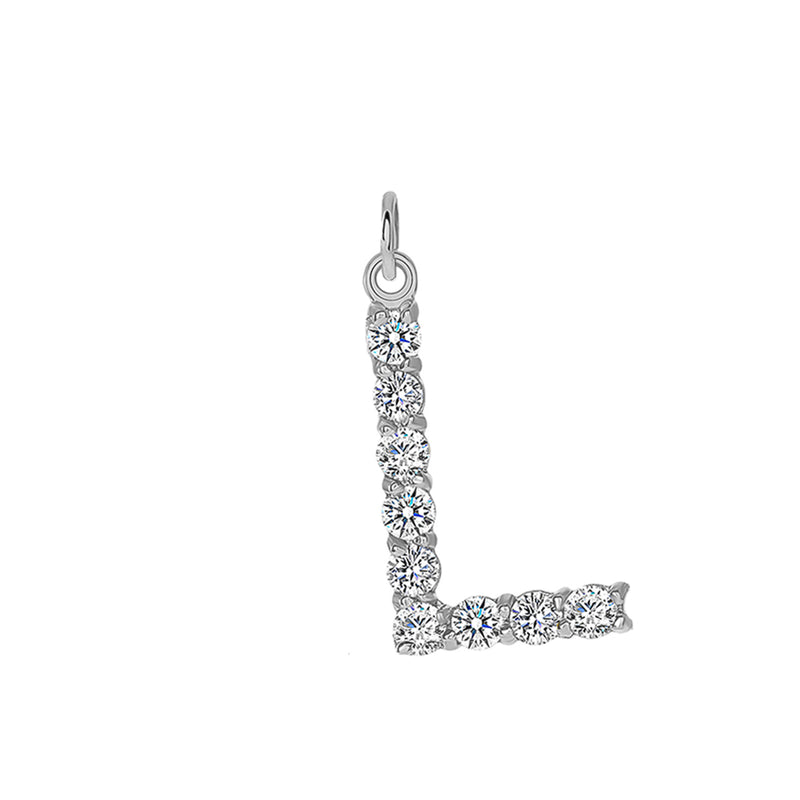"Initial ""L"" CZ Letter Pendant/Necklace in Sterling Silver"