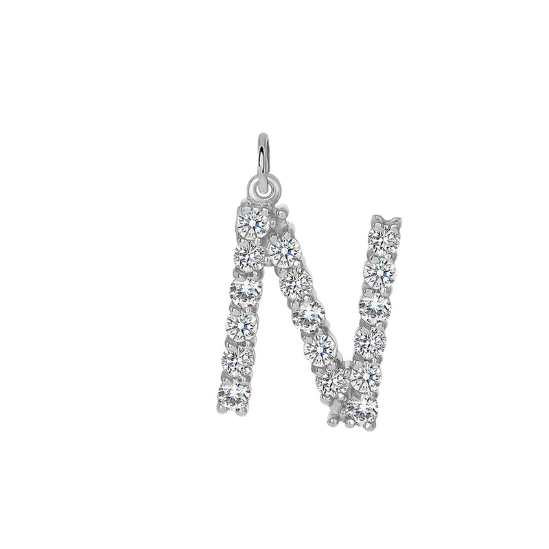 "Initial ""N"" CZ Letter Pendant/Necklace in Solid Gold"