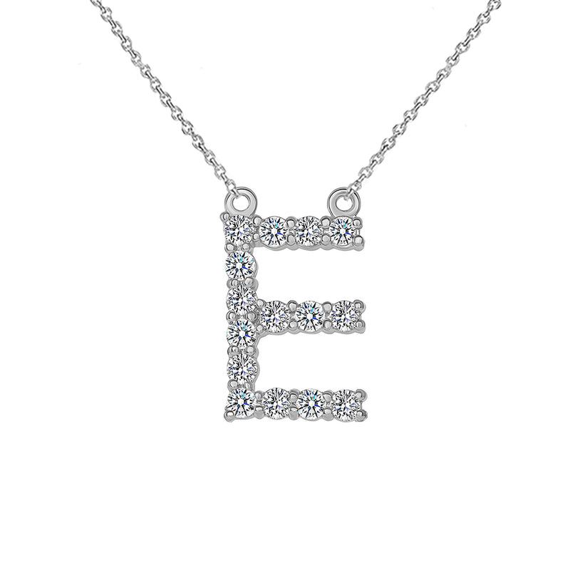 "Initial ""E"" CZ Letter Necklace in Sterling Silver"
