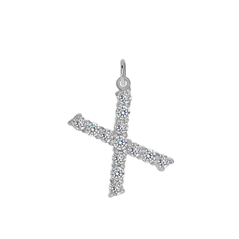 "Initial ""X"" CZ Letter Pendant/Necklace in Sterling Silver"