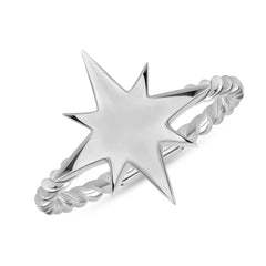 North Star High Polish Rope Ring In Sterling Silver