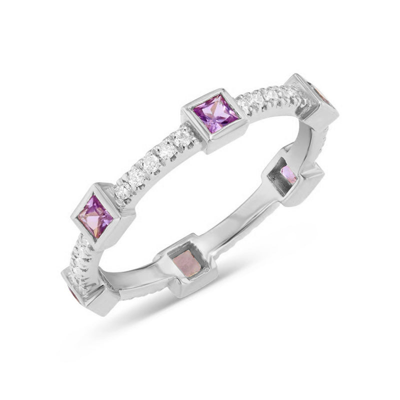White Gold Diamond and Princess Stackable Ring