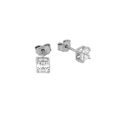Solitaire Asscher-Cut CZ Stud Earrings in Sterling Silver(X-Small Size)