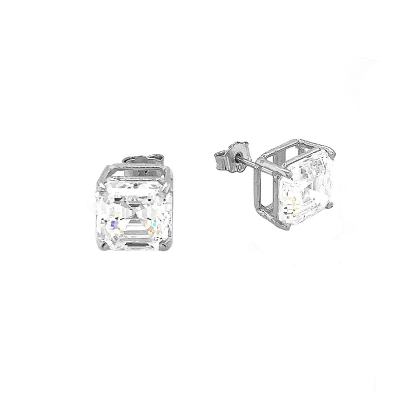 Solitaire Asscher-Cut CZ Stud Earrings in Sterling Silver (X-Large Size)