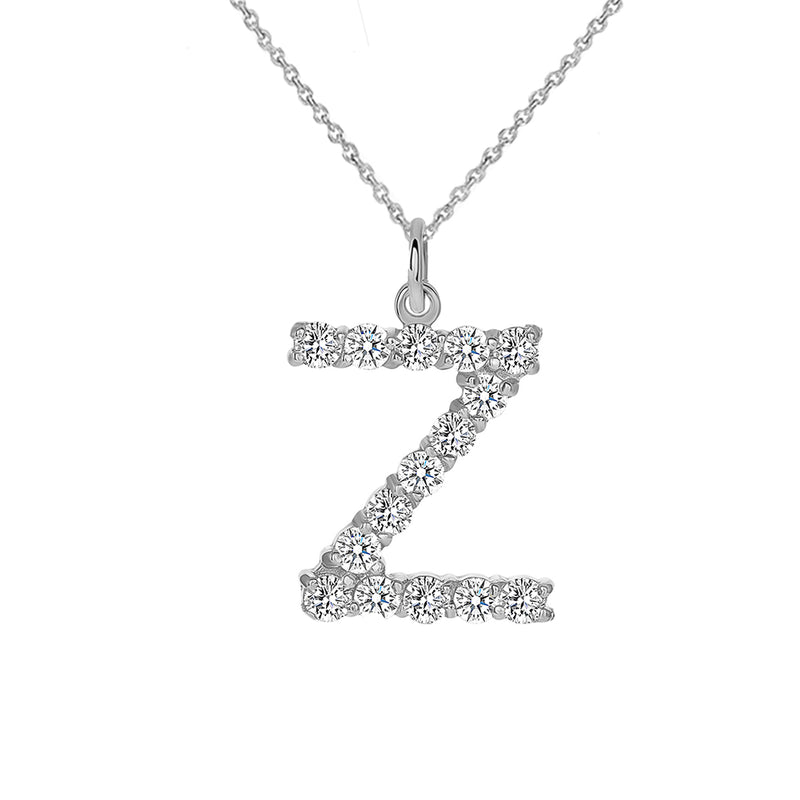 "Initial ""Z"" CZ Letter Pendant/Necklace in Sterling Silver"