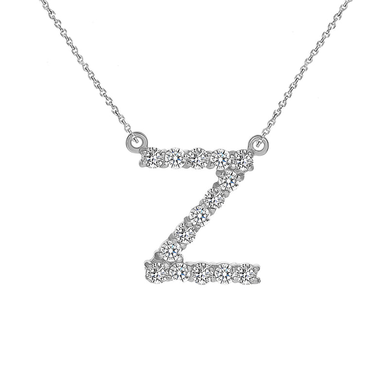 "Initial ""Z"" CZ Letter Necklace in Solid Gold"