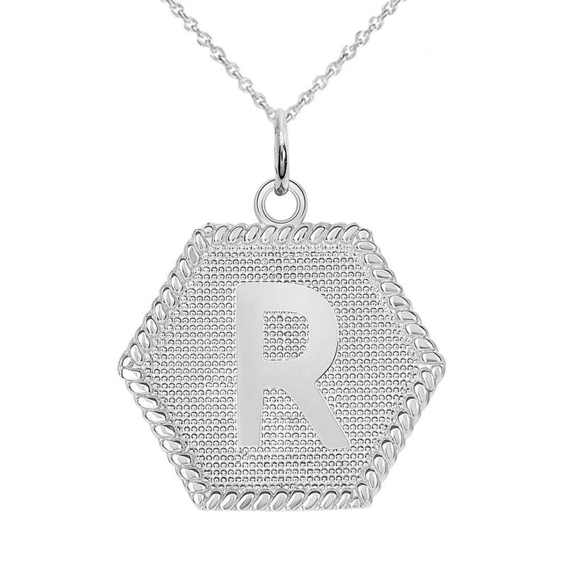 "Initial ""R"" Gold Medallion Pendant Necklace"