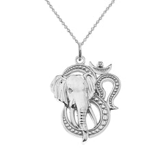 Sterling Silver Elephant Ganesh Hindu God Of Success Pendant Necklace