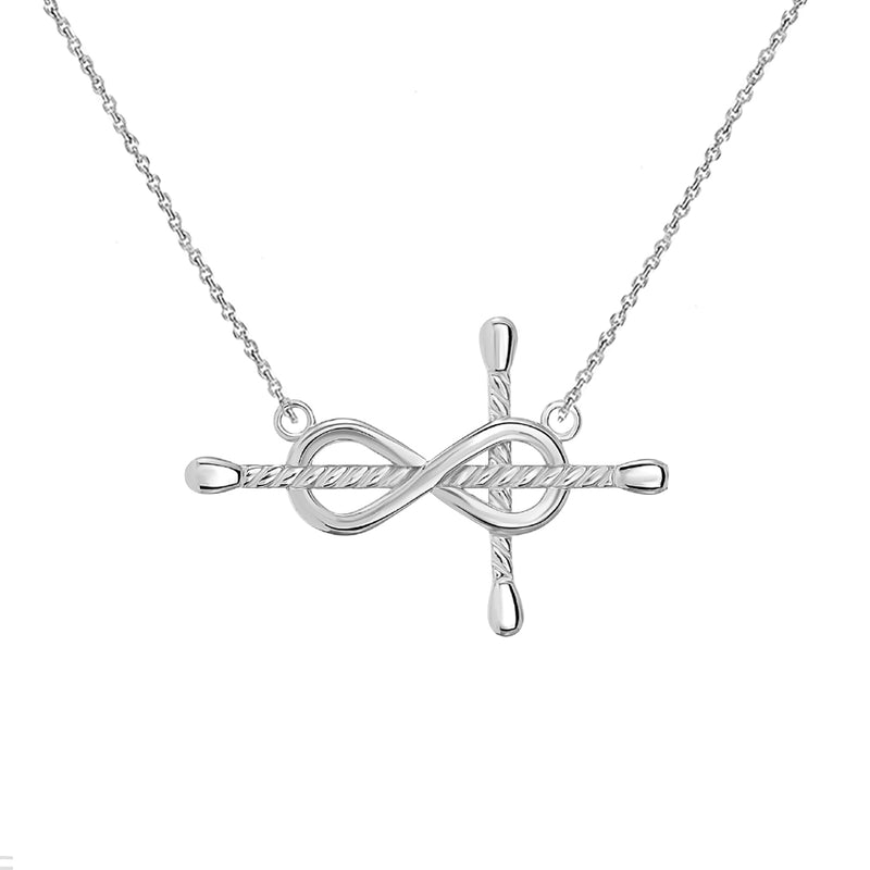 Infinity-Rope Cross Necklace in Gold ( Yellow, Rose & White )