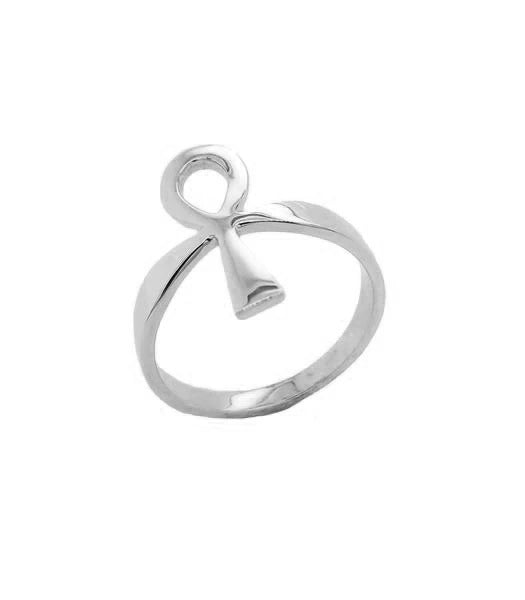 Ankh Key of Life Ring in Solid White Gold