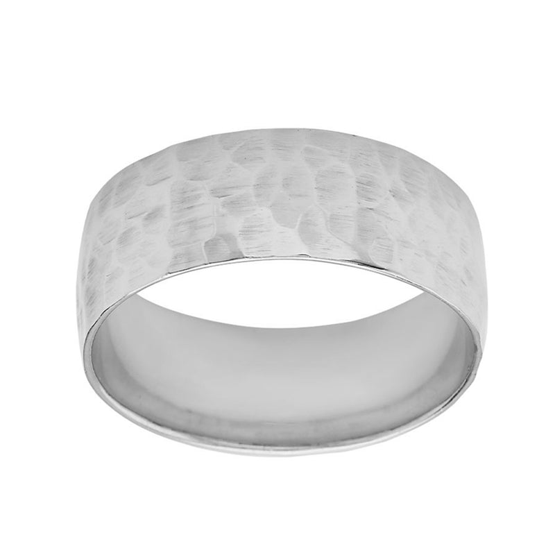 Hammered 7mm Gold Band Ring